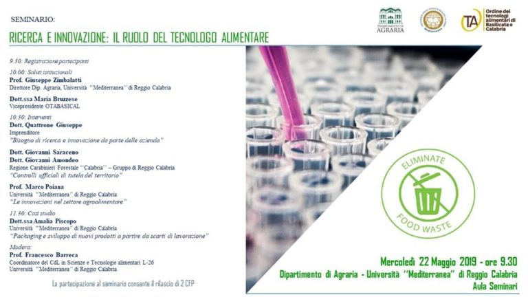 ricerca e innovazione - il ruolo del tecnologo alimentare
